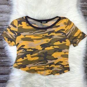 💋G Mini Yellow Camo Crop Top